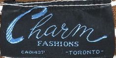 Charm Fashions - vintage label from a 1970s dress