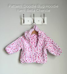 Doodle Bug Hoodie in Universal Yarn Bella Chenille. Discover more Patterns by Universal Yarn at LoveCrafts. From knitting & crochet yarn and patterns to embroidery & cross stitch supplies! Baby Cardigan Knitting Pattern Free, Baby Sweater Patterns, Knit Baby Sweaters, Knitted Baby Clothes, Baby Knitting Patterns, Baby Patterns, Baby Knits, Knitting Sweaters, Hoodie Pattern