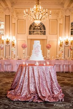 shimmering pink table.....SIMPLY RADIANT!! WONDERFUL WAY TO SNEAK IN SOME PINK