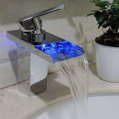 Waterfall Style Bathroom Bathtub 3 Color LED Basin Sink Modern Faucet