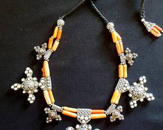 Morocco - Berber design necklace with Bogdad crosses, genuine coral, and silver beads pendants