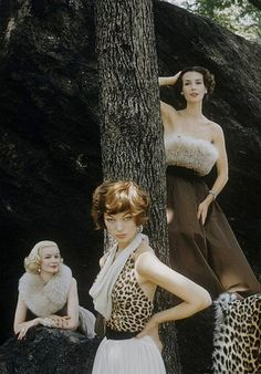 theniftyfifties:    Sunny Harnett (left) and unknown models in fur fashions, 1950s, Photo by Nina Leen.