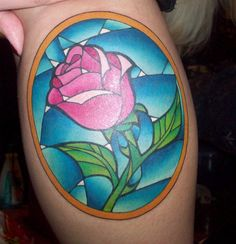 Stained glass rose from Beauty and the Beast