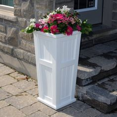 Mayne W x H White Resin Self Watering Planter at Lowe's. Create a sense of architectural flare that will truly deliver that New England feel with Mayne's Cape Cod Tall Planter. This versatile container has Tall Planters, Patio Planters, Cedar Planters, Deck Patio, Cape Cod, Mould Design, Self Watering Planter, Plastic Pots, Plastic Planter