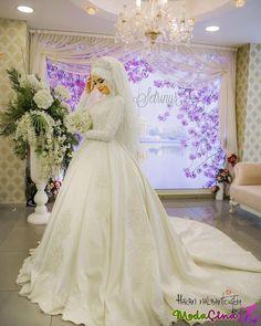 pics of muslim wedding dresses Hijabi Wedding, Muslim Wedding Dresses, Muslim Brides, Bridal Dresses, Bridesmaid Dresses, Muslim Couples, Bridal Hijab, Mode Hijab, The Dress
