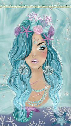 Drawing Mermaid Art 40 Ideas For 2019 Mermaid Drawings, Mermaid Art, Mermaid Paintings, Tattoo Mermaid, Vintage Mermaid, Mermaid Tails, Mermaid Wallpapers, Cute Wallpapers, Unicorn Wallpaper Cute
