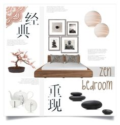 zen bedroom by levai-magdolna on Polyvore featuring interior, interiors, interior design, home, home decor, interior decorating, Dibbern, Crystal Art, Nearly Natural and Bandhini Homewear Design