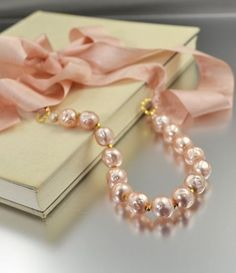 Peach Vintage Bead Silk Ribbon Necklace made by NansGlam Just Girly Things, Nice Things, Beautiful Things, Ribbon Necklace, Pearl Necklace, Rose Pale, Estilo Shabby Chic, Pearl And Lace, Fuchsia