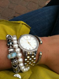 pearls, michael kors watch, david yurman bangle