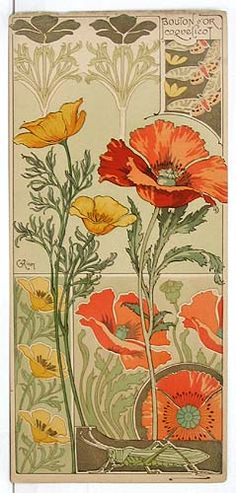 Riom. Californian Poppy and Field Poppy from Etudes de Fleurs. 1890s. Lithograph.