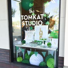 """How cute is our St. Patty's Day display window? Nice job, Molly + Cara! xoxo  #tomkatshop #tomkatstudio #shoplocal #chandleraz #chandler…"""