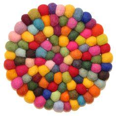Felted Wool Trivet Multi