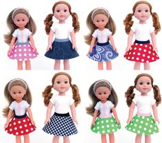13-inch and 14.5-inch doll skirts (free pattern)