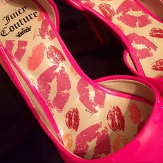 Sassy hot pink heals!!  hot pink shiny patten pointy toe Juicy couture heals!! So cute with jeans or casual business PERFECT CONDITION ((best offer excepted)) Juicy Couture Shoes Heels