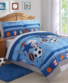 sports themed bedroom perfect for a boys room