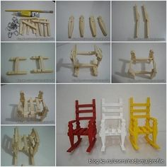 How to build Clothespin Rocking Chair step by step DIY instructions. Cute for Dessert Table, Barbie Doll,etc Wooden Clothespin Crafts, Clothespin Dolls, Wood Crafts, Popsicle Stick Crafts, Craft Stick Crafts, Barbie Furniture, Dollhouse Furniture, Diy Home Crafts, Crafts For Kids
