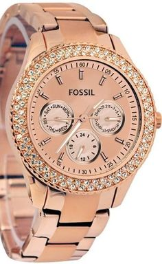 Montre pour femme : Fossil Women's ES3003 Stainless Steel Analog Pink Dial Watch
