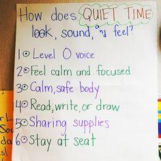 How to start Quiet Time in the classroom - Glitter in Third Classroom Charts, Classroom Routines, Classroom Ideas, Classroom Promise, Class Pledge, Quiet Time Activities, Educational Activities, Preschool Activities, Responsive Classroom