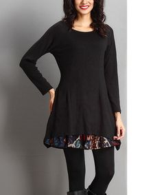 Another great find on #zulily! Black Floral Layered Tunic #zulilyfinds