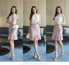 Korean Fashion – How to Dress up Korean Style – Designer Fashion Tips Dress Skirt, Dress Up, Pencil Skirt Outfits, Korean Fashion Trends, Traditional Fashion, Formal Looks, Korean Outfits, Korean Women, Types Of Fashion Styles