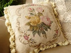 14-Vintage-French-Country-Shabby-Pink-Rose-Buds-Scrolls-Needlepoint-Pillow-20K Needlepoint Pillows, Persian Carpet, Rose Buds, French Vintage, French Country, Shabby Chic, Reusable Tote Bags, Cushions, Throw Pillows