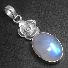 925 Sterling Silver Natural Moonstone Oval Flower Pendant Fine Jewelry svp2098 $ #Unbranded