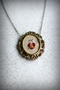 {Mrs. Owl} hand embroidered portrait pendant