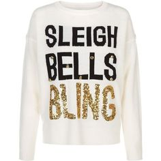 White Sleigh Bells Bling Christmas Jumper ($38) ❤ liked on Polyvore featuring tops, sweaters, white sweater, white long sleeve top, christmas sweater, long sleeve sweaters and long sleeve tops