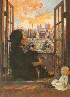 A Little Princess illustration by Jesse Wilcox Smith Art And Illustration, American Illustration, Collage Illustrations, Princess Illustration, Art Vintage, Vintage Images, Art Ancien, Art Graphique, Little Princess