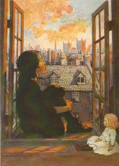 by Jesse Wilcox Smith (1863 - 1935)  Reminiscent of illustrations for A  Little Princess by Frances Hodgson Burnett