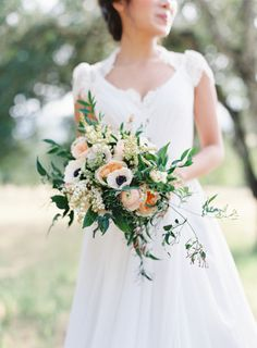 Peach and anemone filled bouquet: http://www.stylemepretty.com/collection/3345/