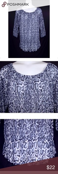 LANE BRYANT 18/20, 22/24, 26/28, Peasant Top NEW Bluish Gray and Black...the color seems different depending on what light it's in. It has a wide elastic scoop neck, 3/4 elastic sleeves, elastic flounce hem, the fabric is a sheer mesh and is 100% polyester, machine washable. The brand label has been cut through to prevent retail store returns. Measurements: 18/20 bust-50 to 60 (stretched), sleeves-16, length-30. 22/24 bust-54 to 66 (stretched), sleeves-17, length-32. 26/28 bust-58 to 70…
