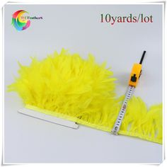 10yards high quality yellow turkey feather trim for costumes