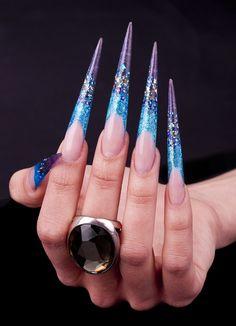 Blue-purple stiletto nails