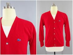 9853810d2a 1970s - 1980s Vintage IZOD Lacoste Red Cardigan Preppy Golf Sweater