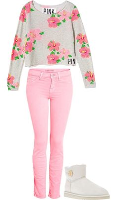 What a very, very nice outfit. The light pink is very soft in the top, but it is there. I think, that this is a lovely summer outfit. Fashion Moda, Cute Fashion, Look Fashion, Teen Fashion, Runway Fashion, Winter Fashion, Fashion Trends, Preppy Fashion, Disney Fashion