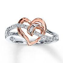 10K Two-Tone Gold 1/10 ct. t.w. Diamond Heart Ring