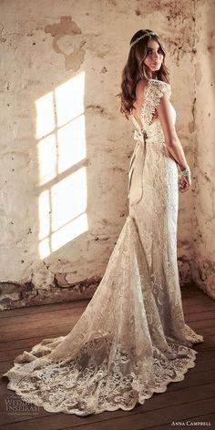 anna campbell 2018 bridal cap sleeves v neck full embellishment elegant sheath wedding dress open v back sweep train (18) bv -- Anna Campbell 2018 Wedding Dresses