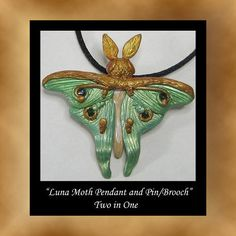 Luna Moth Polymer Clay Pendant Pin Brooch Wearable Art