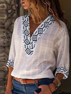 Plus size v neck geometric tribal casual chic blouses Shirts & Tops, Shirt Blouses, Boho Bluse, Linen Tshirts, Denim Shirts, Ethnic Print, Linen Blouse, Summer Tshirts, Fall Shirts