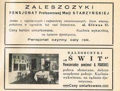 """Reklamy pensjonatów w Zaleszczykach. U pań Starzyńskiej i Pisarskiej kuchnia wykwintna, na zamówienie dietetyczna. Z """"Uzdrowiska polskie"""", 1932 rok.    #ads #advertising #advertisement #ad"""