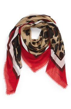 Burberry Animal Print Silk & Modal Scarf available at #Nordstrom