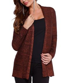 Look what I found on #zulily! Chocolate & Copper Marle Open Cardigan by Belldini #zulilyfinds