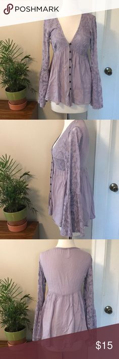 Xhilaration Lilac Boho Bell Sleeved Top NWOT this has never been worn! A beautiful lilac or lavender purple color with lace bell sleeves . A Stevie nicks like gypsy free people style. Xhilaration Tops Blouses