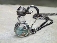 Lahvička s avanturíny -  náhrdelník