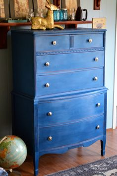 Blue Velvet perfectly describes this lovely, vintage dresser. The finish is soft and the muted play of color from dark to light that resembles velvet. I will add here that this now happens to be … Blue Painted Furniture, White Furniture, Wood Furniture, Painting Furniture, Gothic Furniture, Refinished Furniture, Furniture Ideas, Vintage Dressers, Old Dressers