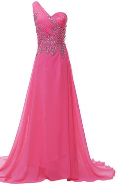 Beading Crystal Sequined Pleated Floor Length Chiffon One Shoulder Red Sleeveless Long Prom Dress