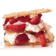 green dessert recipes, cream cheese recipes desserts, healthy christmas dessert recipes - Healthy Strawberry Recipes: Ricotta-Strawberry Napoleons Dessert Recipe | CookingLight.com