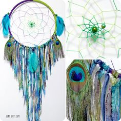 The Peacock Large Native Style Woven Dream Catcher by eenk on Etsy, $89.00