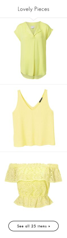 """Lovely Pieces"" by styld-co-za ❤ liked on Polyvore featuring tops, yellow top, summer tops, drape tank top, v neck tank, drapey tank, yellow, v-neck tops, textured top and beige top"
